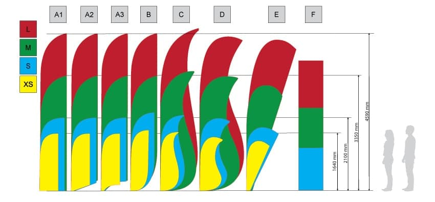 Muší křídla (beach flag) typ A3